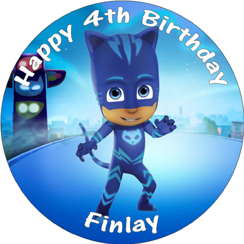 PJ MASKS CATBOY BIRTHDAY CAKE EDIBLE ROUND PRINTED CAKE TOPPER DECORATION